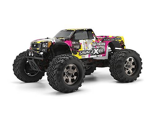 Кузов 1/8 NITRO GT-3 TRUCK  (YELLOW/PINK/BLACK) окрашен HPI-105897