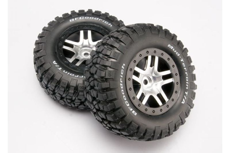 TRAXXAS запчасти Tires  wheels, assembled, glued (SCT Split-Spoke satin chrome, black beadlock style wheels, BFG TRA6873