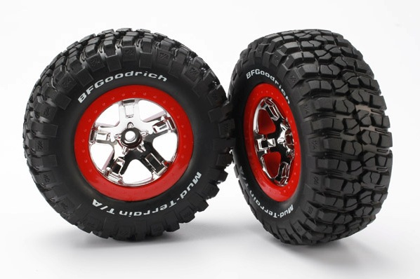 TRAXXAS запчасти Tires  wheels, assembled, glued (SCT chrome, red beadlock style wheels, BFGoodrich® Mud-Terrain TRA5869