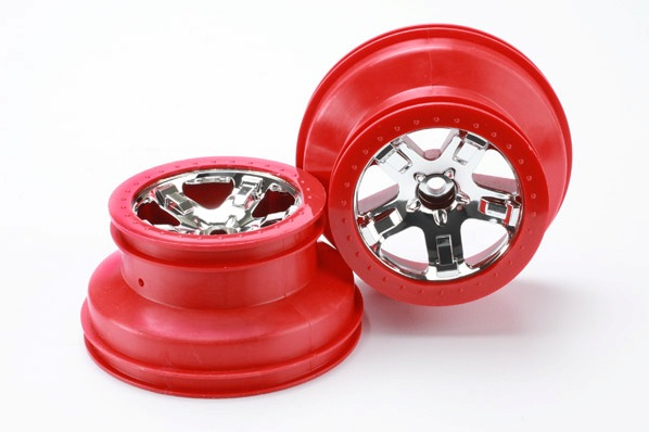 "TRAXXAS запчасти Wheels, SCT chrome, red beadlock style, dual profile (2.2"" outer, 3.0"" inner) (2WD front) (2) TRA5870"
