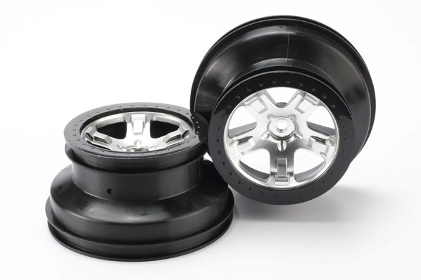 "TRAXXAS запчасти Wheels, SCT satin chrome, black beadlock style SCT, dual profile (2.2"" outer, 3.0"" inner) (4WD front TRA5872X"