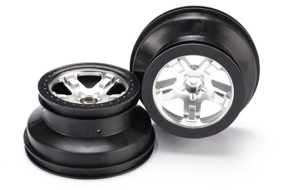 "TRAXXAS запчасти Wheels, SCT satin chrome, black beadlock style, dual profile (2.2"" outer, 3.0"" inner) (2WD front) (2 TRA5874X"