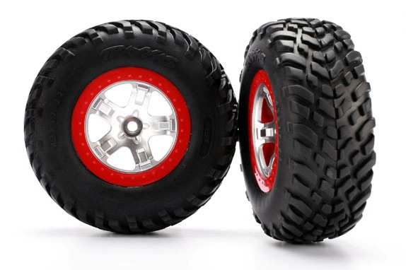 TRAXXAS запчасти Tires  wheels, assembled, glued (SCT satin chrome, red beadlock wheels, ultra soft S1 compound  TRA5875R