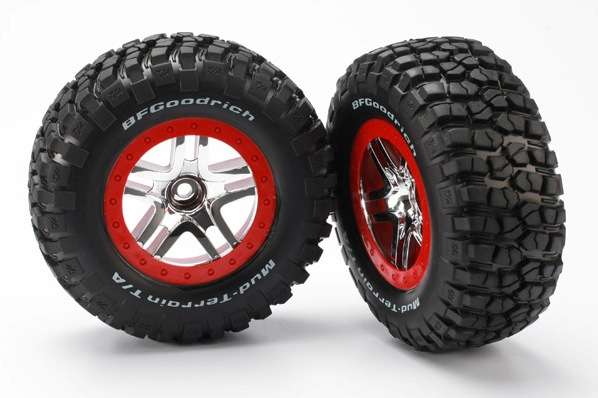 TRAXXAS запчасти Tires  wheels, assembled, glued (S1 ultra-soft, off-road racing compound) (SCT Split-Spoke chro TRA5877R