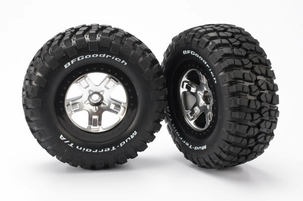 TRAXXAS запчасти Tires  wheels, assembled, glued (SCT satin chrome, black beadlock style wheels, BFGoodrich® Mud TRA5879