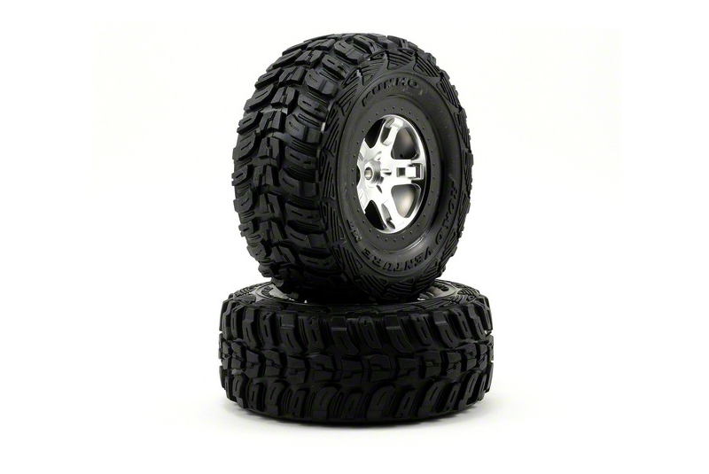 TRAXXAS запчасти Tires  wheels, assembled, glued (SCT satin chrome, black beadlock style wheels, Kumho tires, fo TRA5880