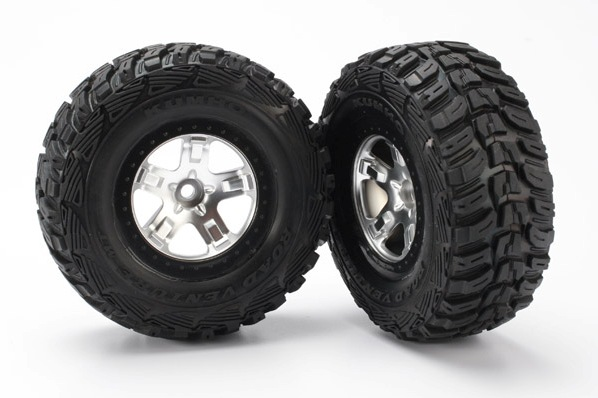 TRAXXAS запчасти Tires  wheels, assembled, glued (SCT satin chrome, black beadlock style wheels, Kumho tires, fo TRA5881
