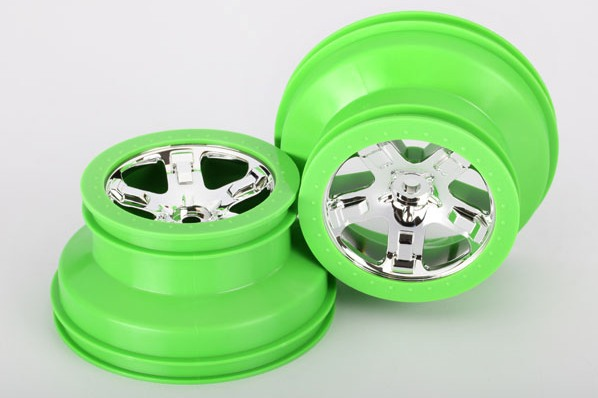 TRAXXAS запчасти Wheels, SCT, chrome, green beadlock style, dual profile (2.2'' outer 3.0'' inner TRA6875