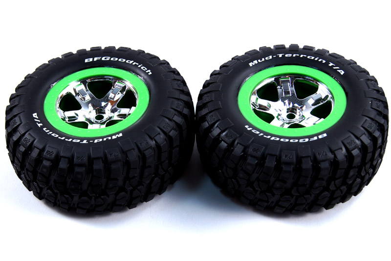 TRAXXAS запчасти Tires  wheels, assembled, glued (SCT, chrome, green beadlock wheel, BFGoodrich® Mud-Terrain™ T/ TRA6876