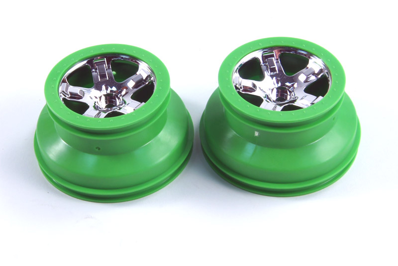 TRAXXAS запчасти Wheels, SCT, chrome, green beadlock style, dual profile (2.2'' outer 3.0'' inner TRA5866
