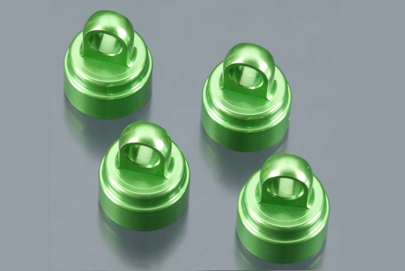 TRAXXAS запчасти Shock caps, aluminum (green-anodized) (4) (fits all Ultra Shocks) TRA3767G