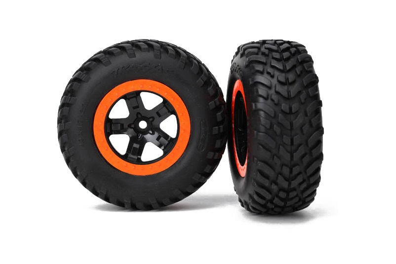 TRAXXAS запчасти Tires  wheels, assembled, glued (SCT black, orange beadlock wheels, SCT off-road racing tire, f TRA5863