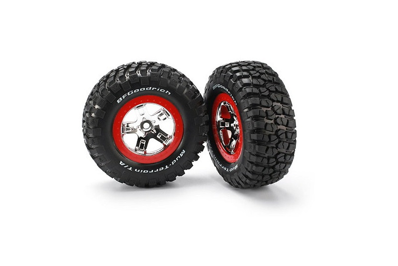 TRAXXAS запчасти Tires  wheels, assembled, glued (SCT chrome, red beadlock style wheels, BFGoodrich® Mud-Terrain TRA5867