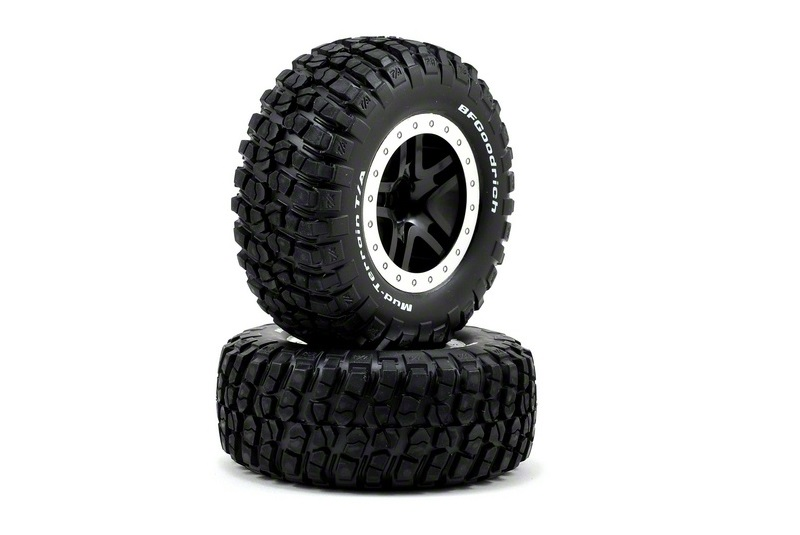 TRAXXAS запчасти Tires  wheels, assembled, glued (SCT Split-Spoke, black, satin chrome beadlock wheels, BFGoodri TRA5885