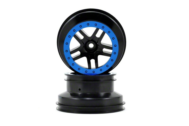 TRAXXAS запчасти Wheels, SCT Split-Spoke, black, blue beadlock style, dual profile (2.2'' outer 3.0' TRA5886A