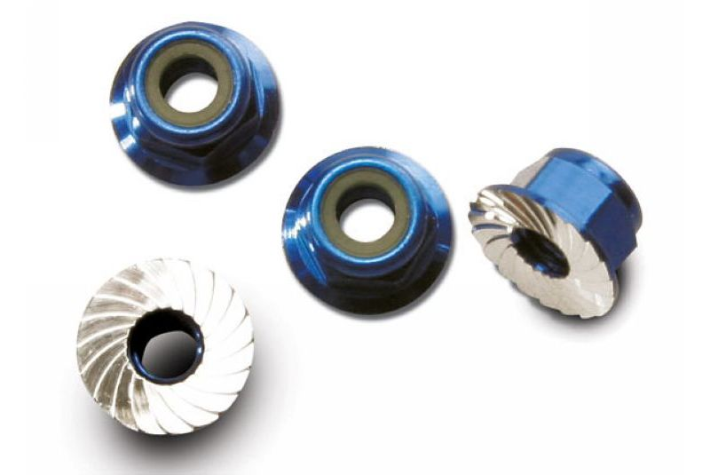TRAXXAS запчасти Nuts, aluminum, flanged, serrated (4mm) (blue-anodized) (4) TRA1747R