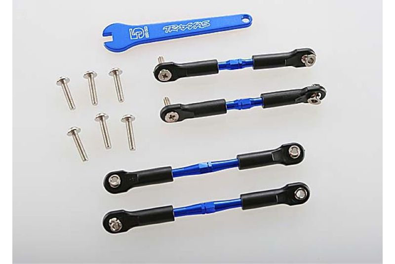 TRAXXAS запчасти Turnbuckles, aluminum (blue-anodized), camber links, front, 39mm (2), rear, 49mm (2) (assembled w/ro TRA3741A