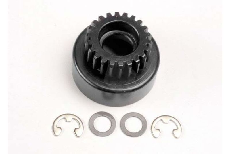 Clutch bell, (22-tooth)/ 5x8x0.5mm fiber washer (2)/ 5mm E-clip (requires #4611-ball bearings, 5x11x TRA4122
