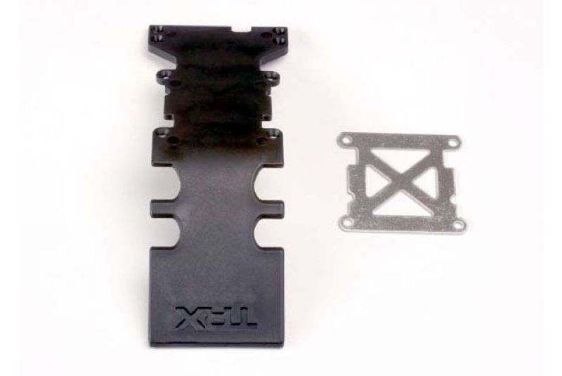 TRAXXAS запчасти Skidplate, rear plastic (black)/ stainless steel plate TRA4938