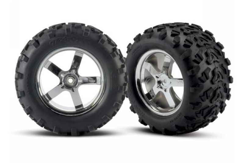 TRAXXAS запчасти Tires  wheels, assembled, glued (Hurricane chrome wheels, Maxx tires (6.3'' outer dia TRA4973R