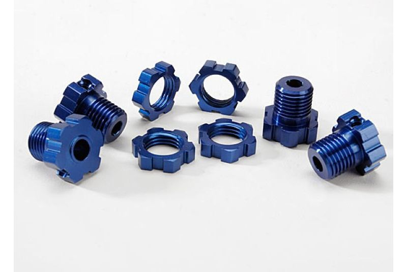 TRAXXAS запчасти Wheel hubs, splined, 17mm (blue-anodized) (4)/ wheel nuts, splined, 17mm (blue-anodized) (4)/ screw  TRA5353X
