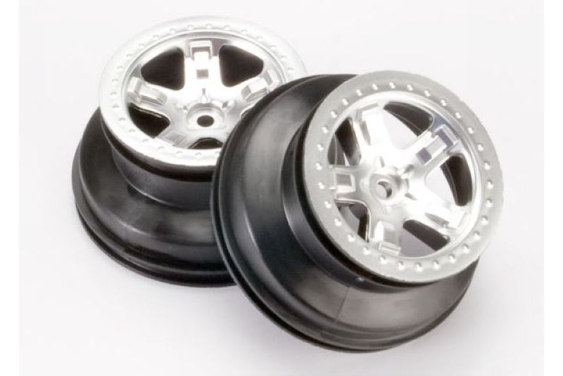 TRAXXAS запчасти Wheels, SCT satin chrome, beadlock style, dual profile (2.2'' outer, 3.0'' inner TRA5872