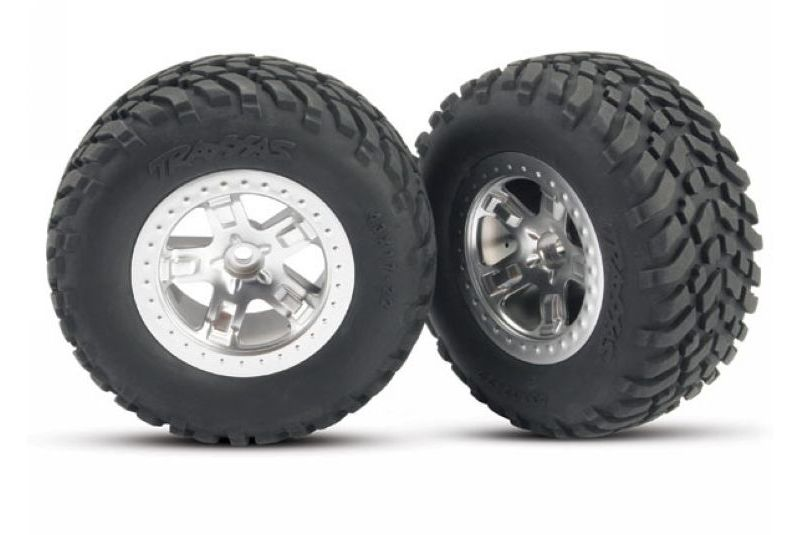 TRAXXAS запчасти Tires  wheels, assembled, glued (SCT satin chrome, beadlock style wheels, SCT off-road racing t TRA5873