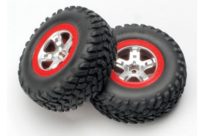 TRAXXAS запчасти Tires  wheels, assembled, glued (SCT satin chrome, red beadlock style wheels, SCT off-road tire TRA5875A